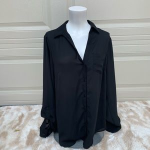 Black Button Down Long Sleeve The Limited Blouse